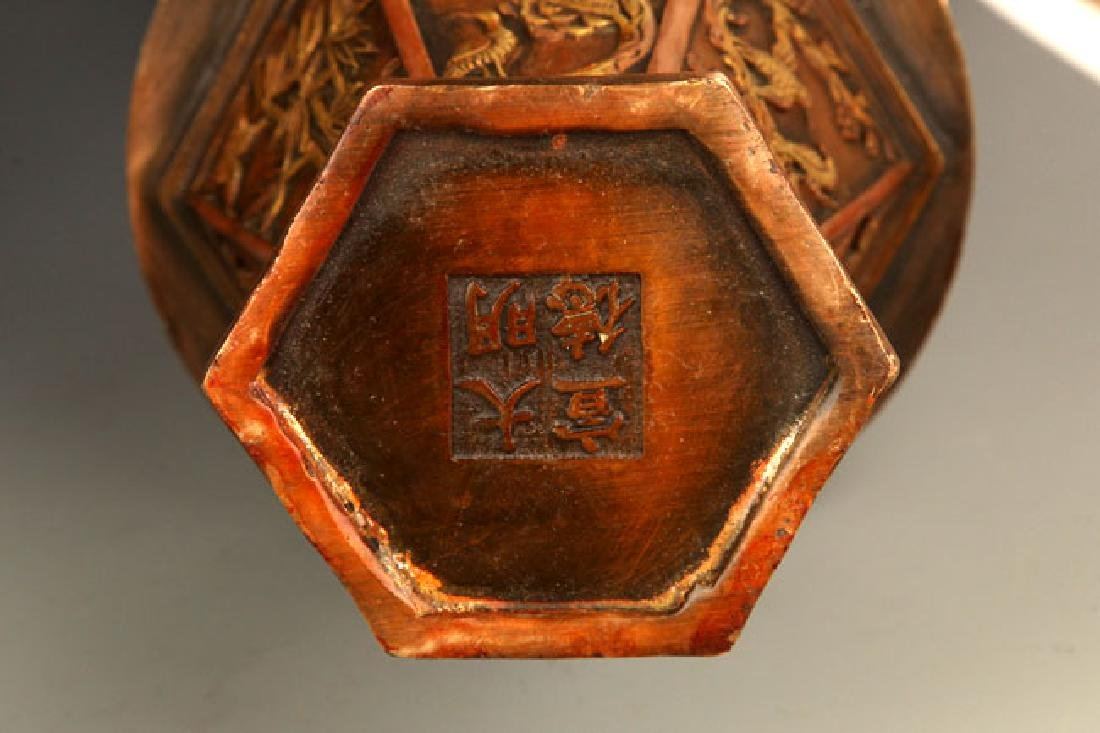 FINELY CARVED HEXAGONAL BOTTLE - 8