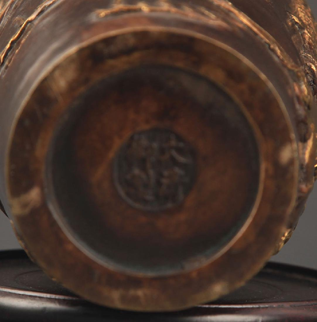 A FINE KIRIN CARVING BRONZE JAR - 6