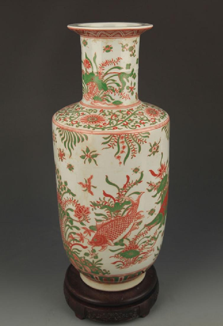 FAMILLE ROSE FISH PATTERN PORCELAIN VASE