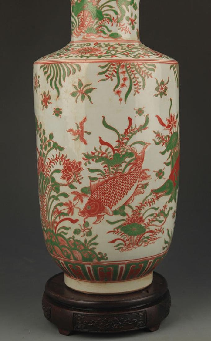 FAMILLE ROSE FISH PATTERN PORCELAIN VASE - 3