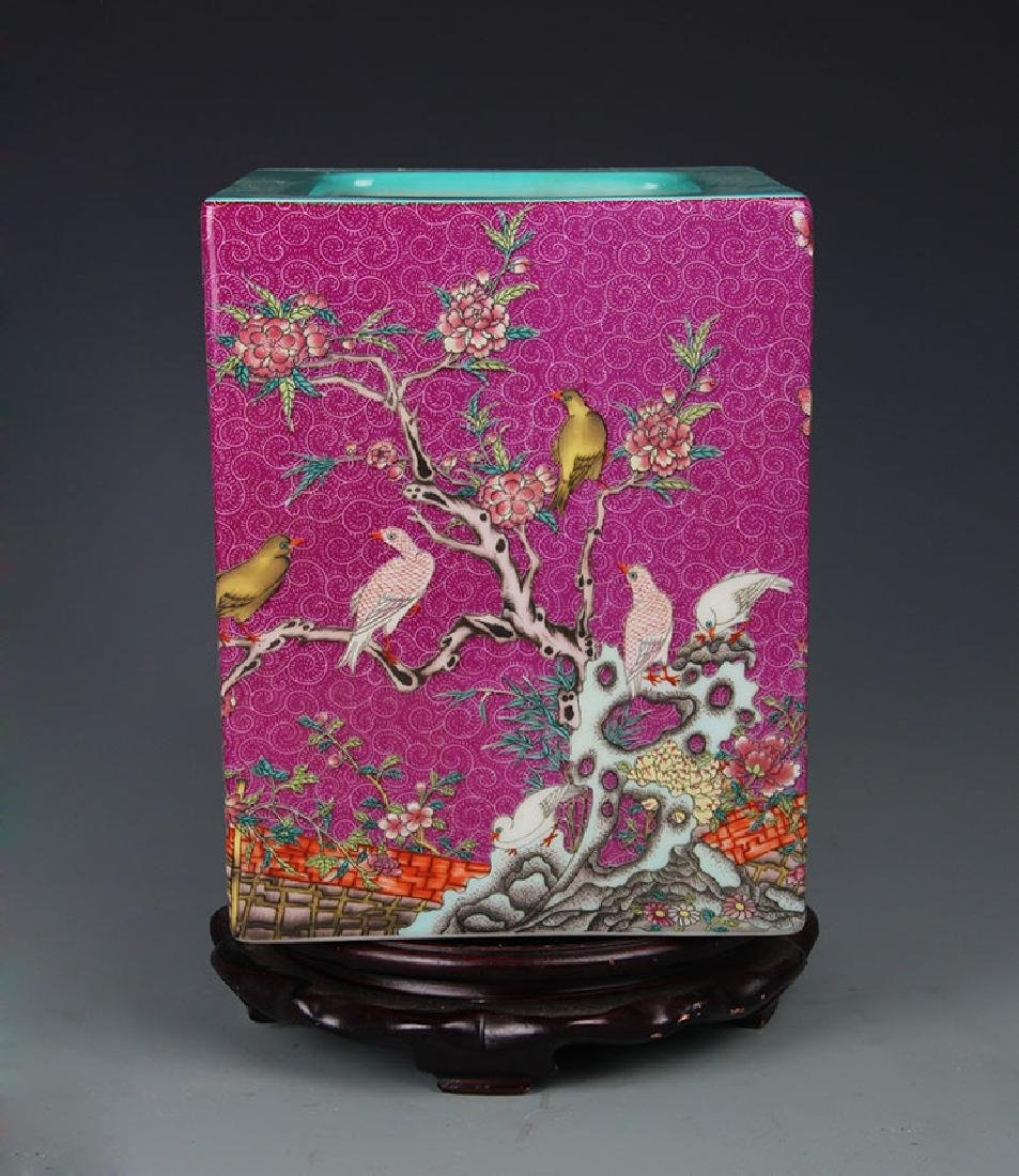 CARMINE GROUND FLOWER AND BIRD PAINTED BURSH POT