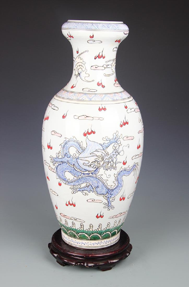FAMILLE ROSE DRAGON PAINTED VASE