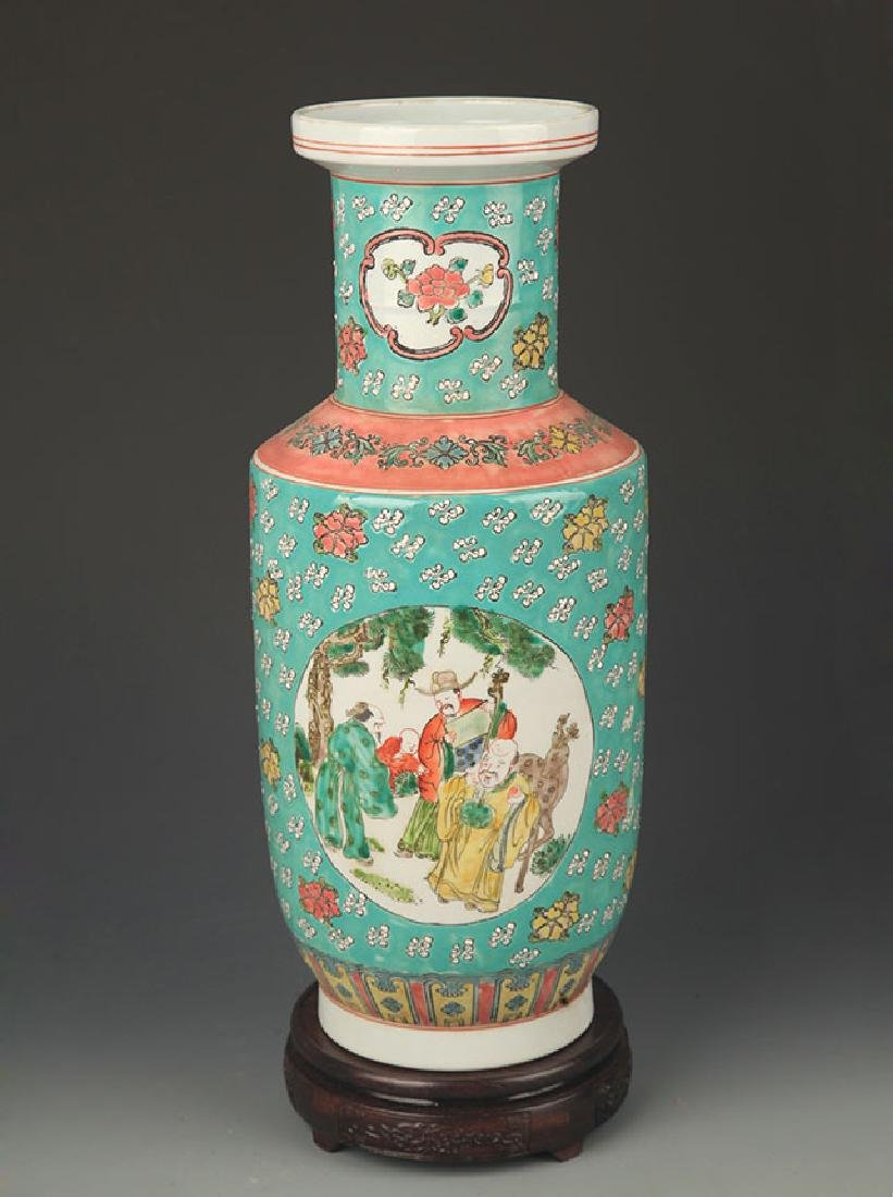 TURQUOISE GROUND FAMILLE ROSE CHARACTER PAINTED VASE
