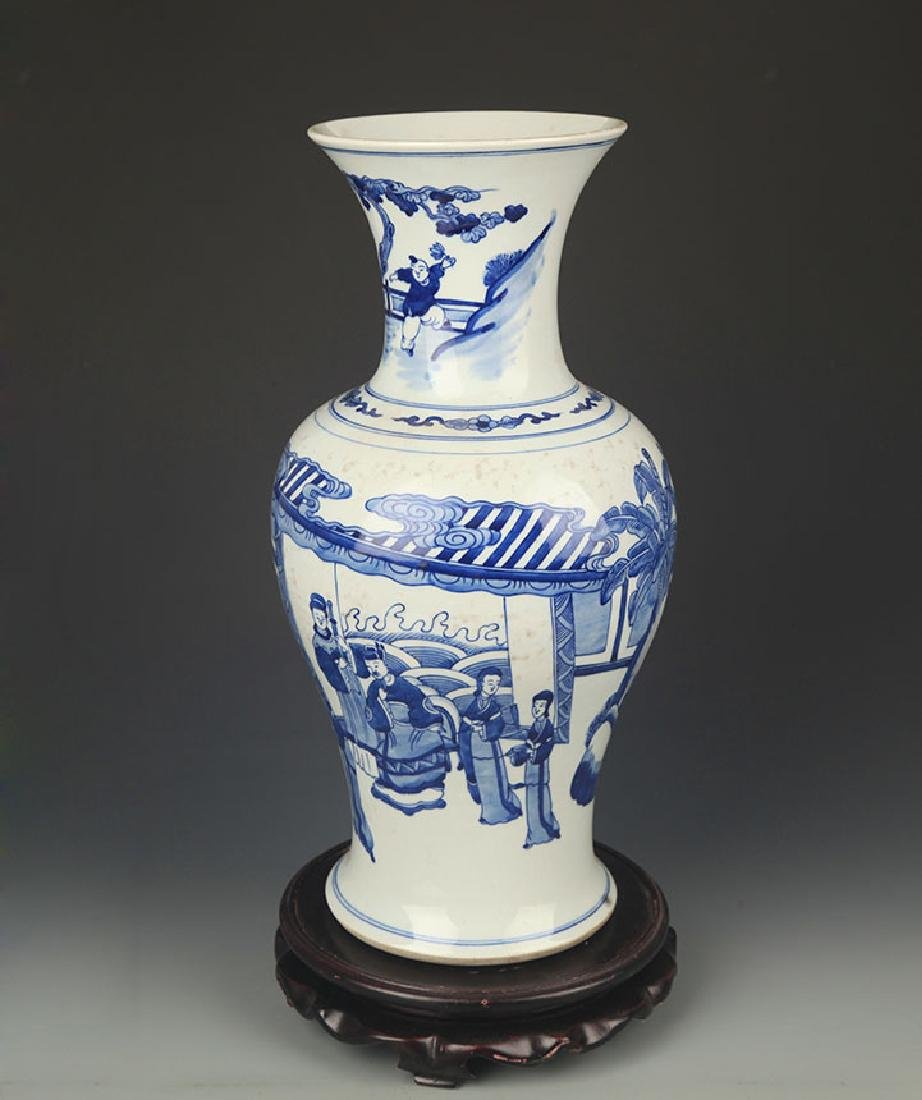BLUE AND WHITE STORY PAINTED GUAN YIN STYLE VASE