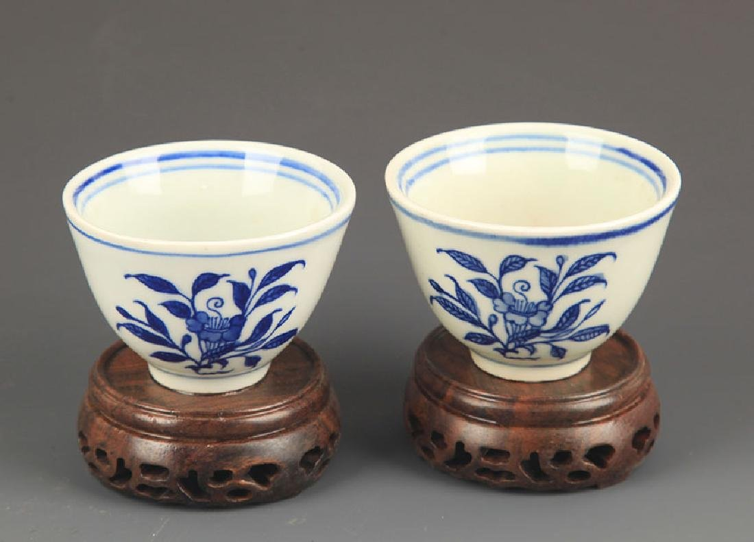 PAIR OF FLOWER BLUE AND WHITE CUP - 2