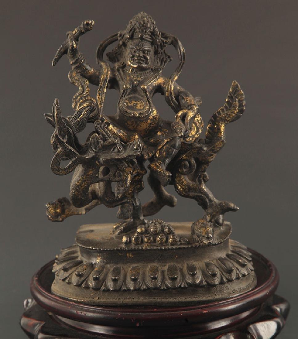 A TIBETAN BUDDHISM BRONZE WHITE FORTUNA STATUE