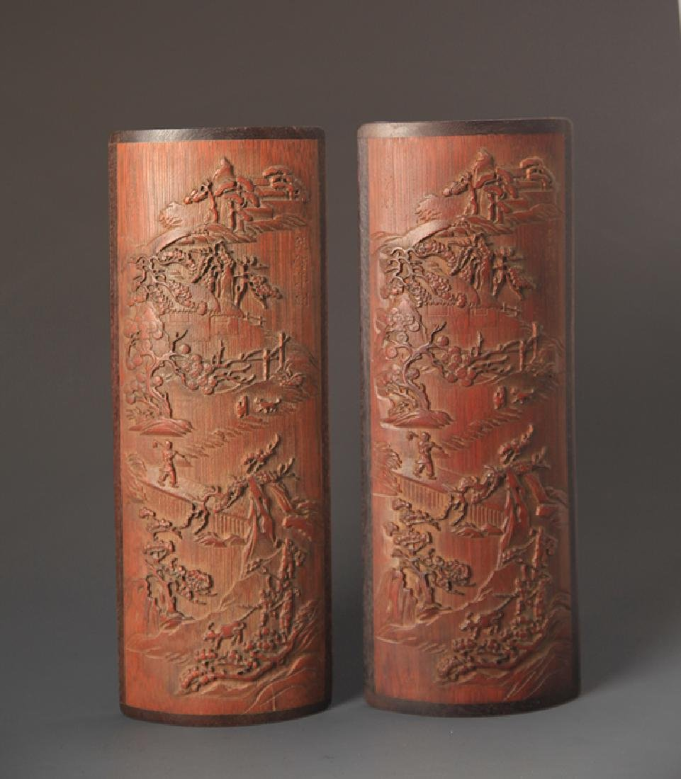 A PAIR OF FINELY CARVED BAMBOO ARMREST