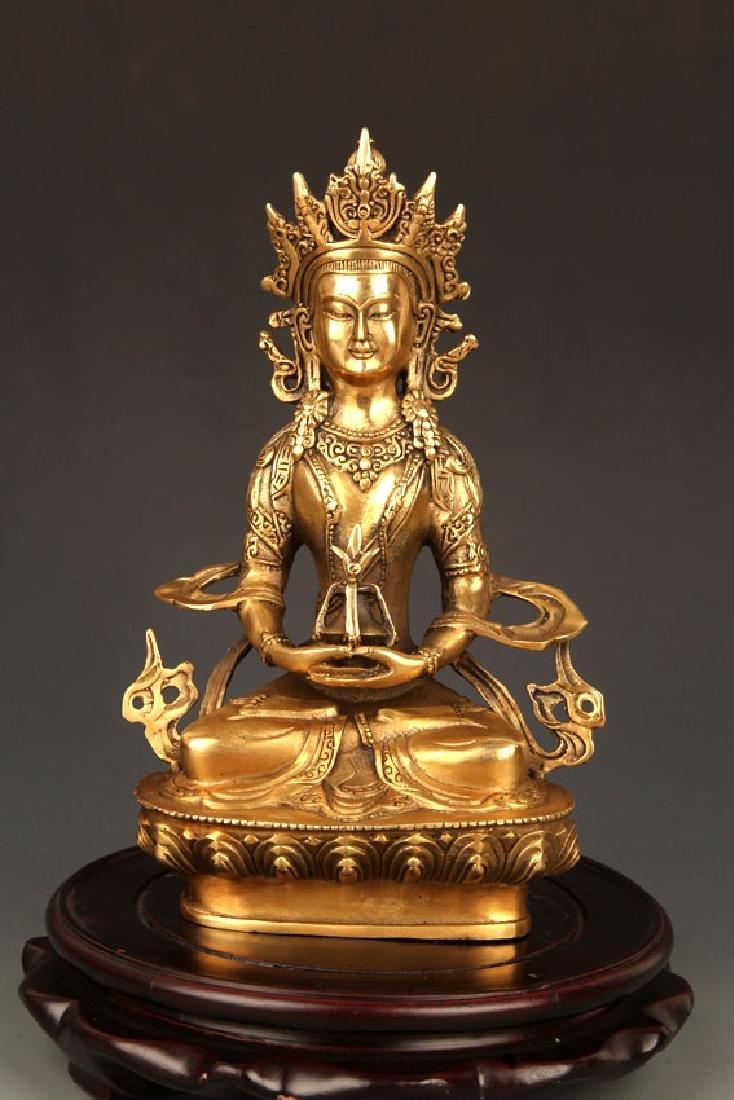BRONZE TIBETAN VAJRAYANA BUDDHA STATUE
