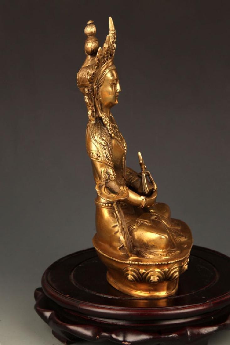 BRONZE TIBETAN VAJRAYANA BUDDHA STATUE - 5