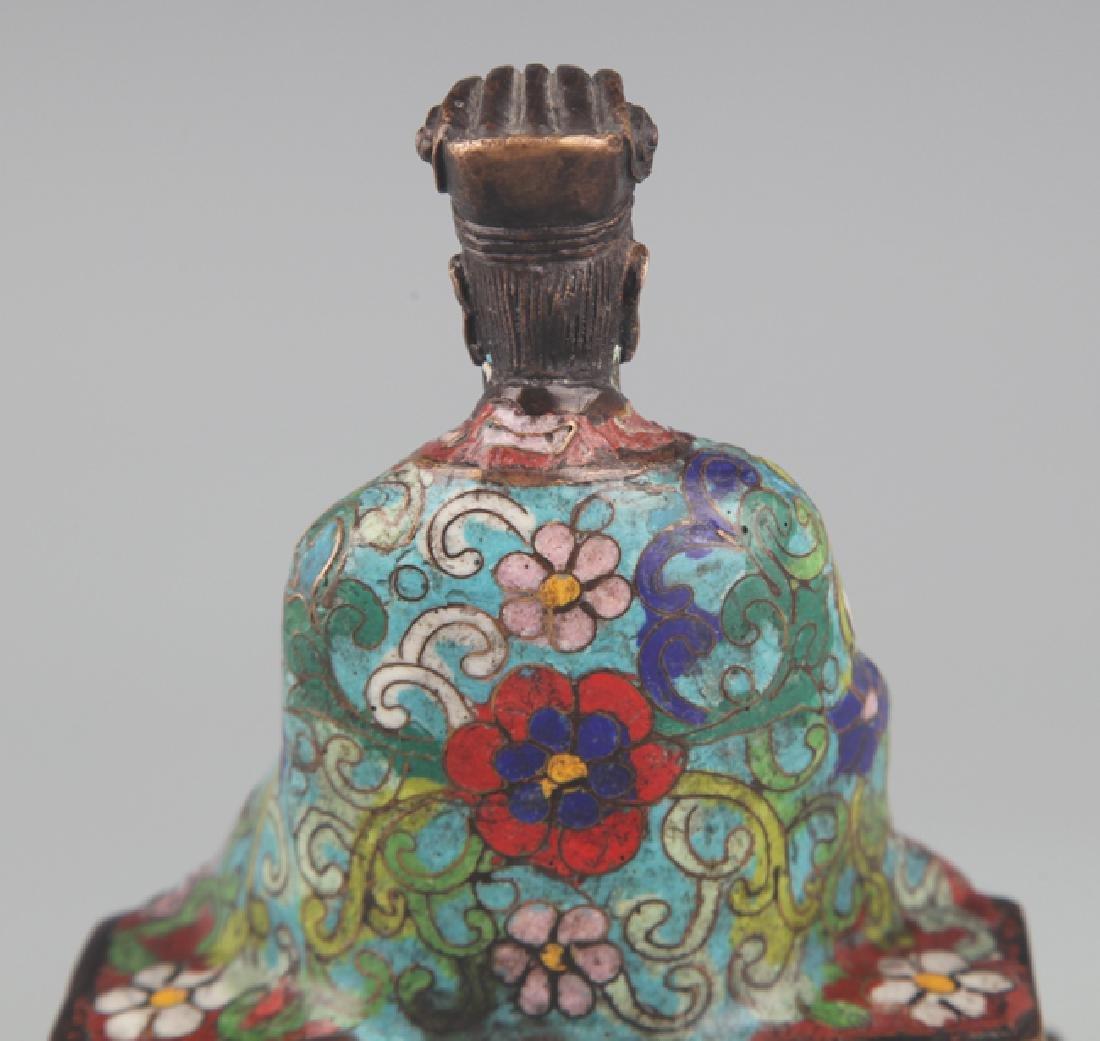 A BRONZE ENAMEL MODEL IN FIGURE OF TAOIST PRIEST - 5