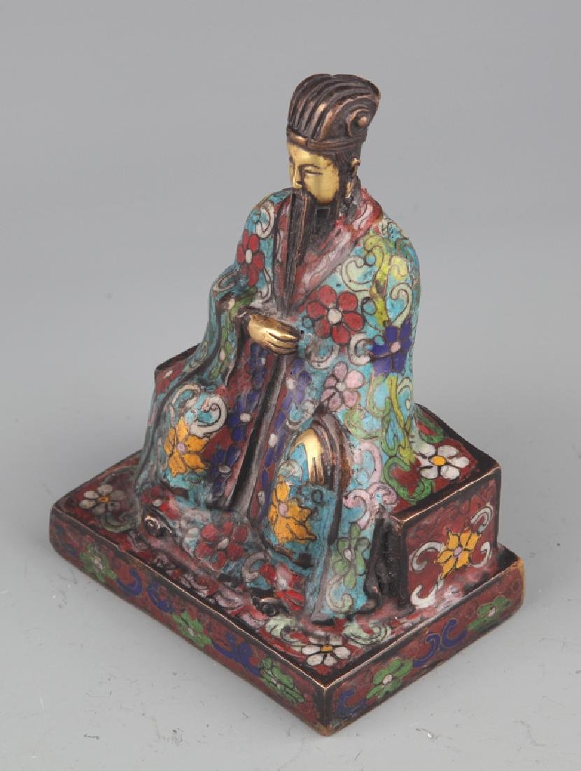 A BRONZE ENAMEL MODEL IN FIGURE OF TAOIST PRIEST - 6