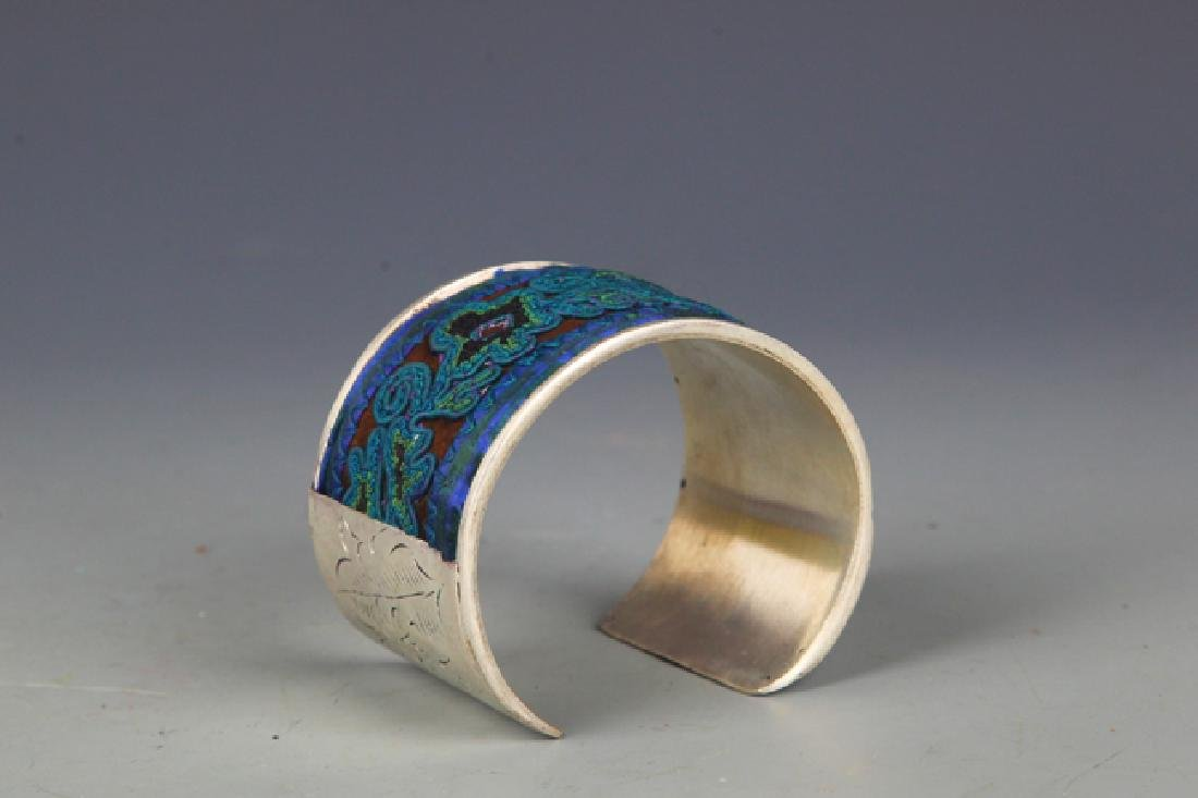 A OLD EMBROIDERED SILVER PLATED BANGLE - 2