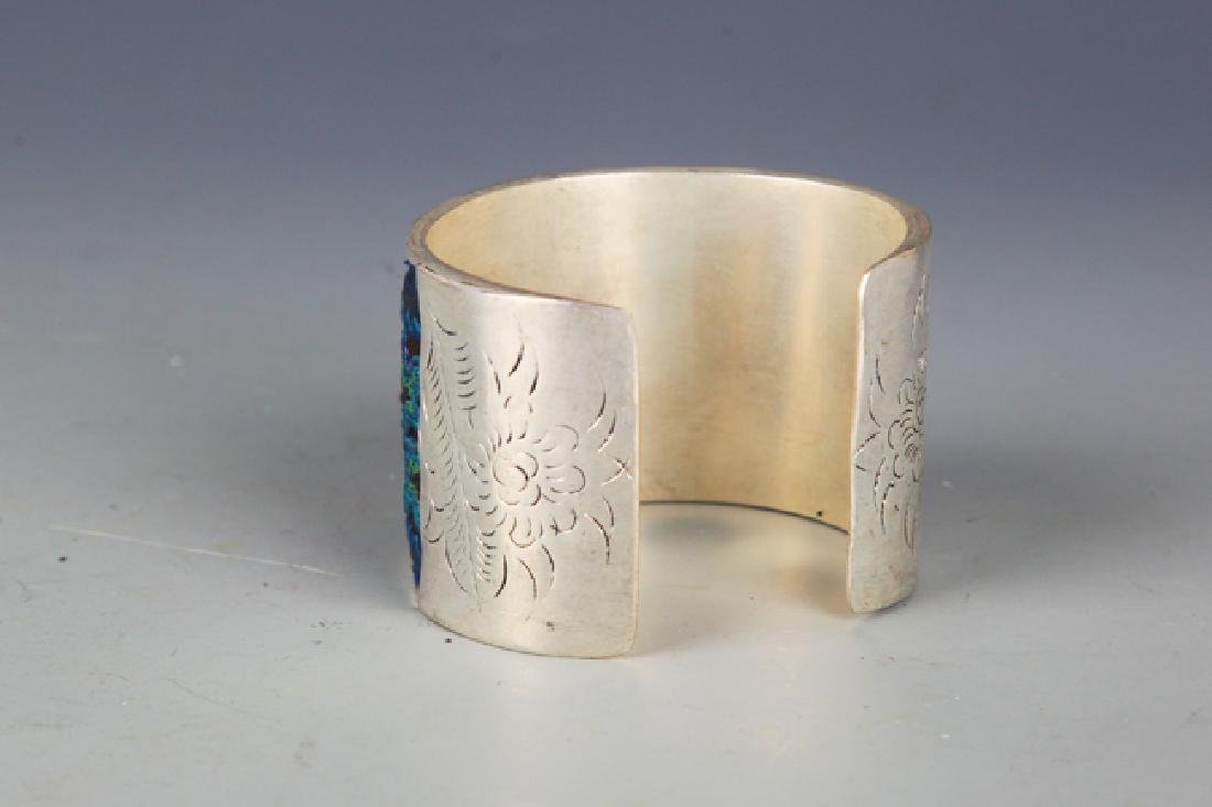 A OLD EMBROIDERED SILVER PLATED BANGLE - 3