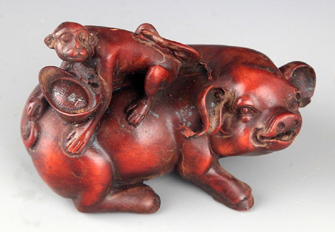 A FINE PIG AND MONKEY DECORATION - 2