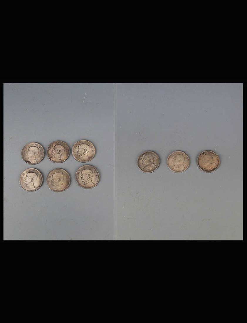 A GROUP OF NINE REPUBLIC PERIOD SILVER COIN