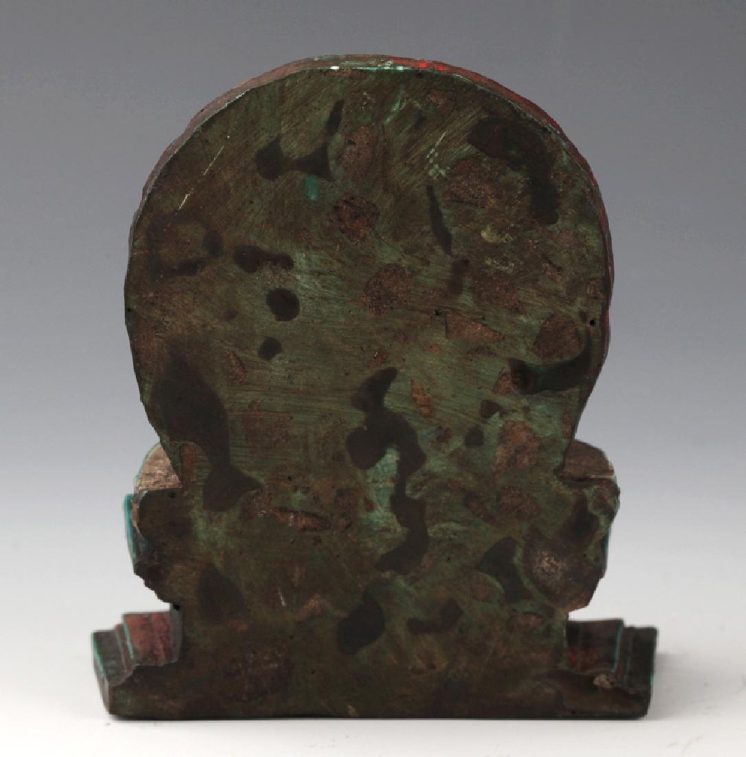 AN OLD IRON TEAPOT AND TIBETAN BUDDHISM DECORATION - 11