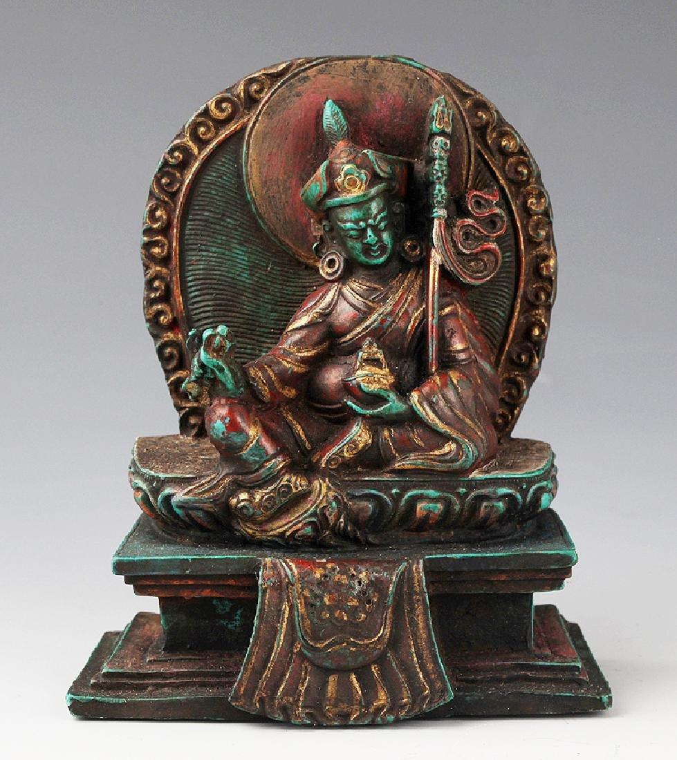 AN OLD IRON TEAPOT AND TIBETAN BUDDHISM DECORATION - 7