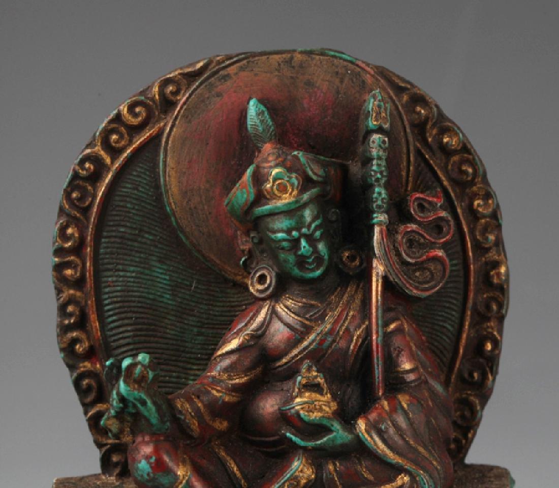 AN OLD IRON TEAPOT AND TIBETAN BUDDHISM DECORATION - 8