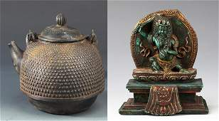 A FINE CAST IRON TEA POT AND TIBETAN BUDDHA FIGURE
