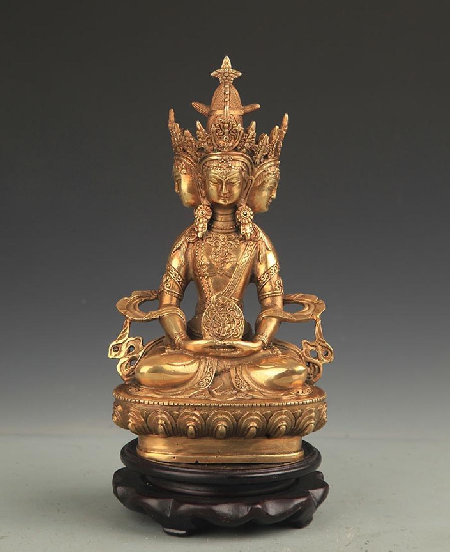 TIBETAN BUDDHISM BRONZE VAIROCANA BUDDHA