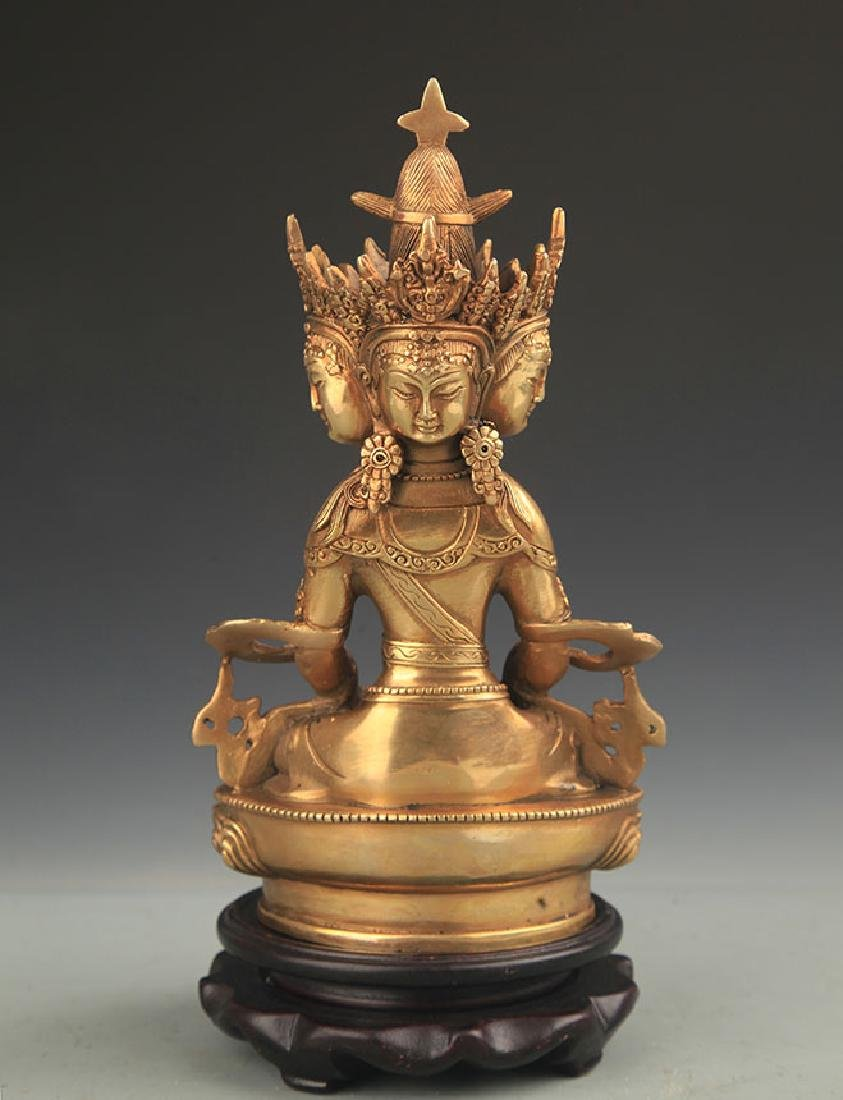 TIBETAN BUDDHISM BRONZE VAIROCANA BUDDHA - 4