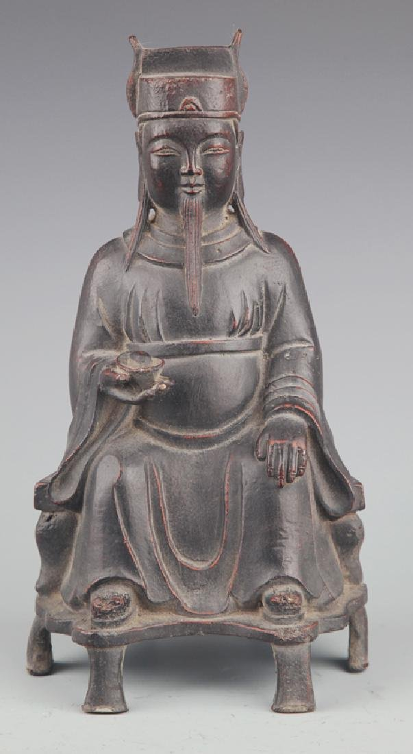 A FINELY CARVED GOD OF WEALTH BRONZE FIGURE