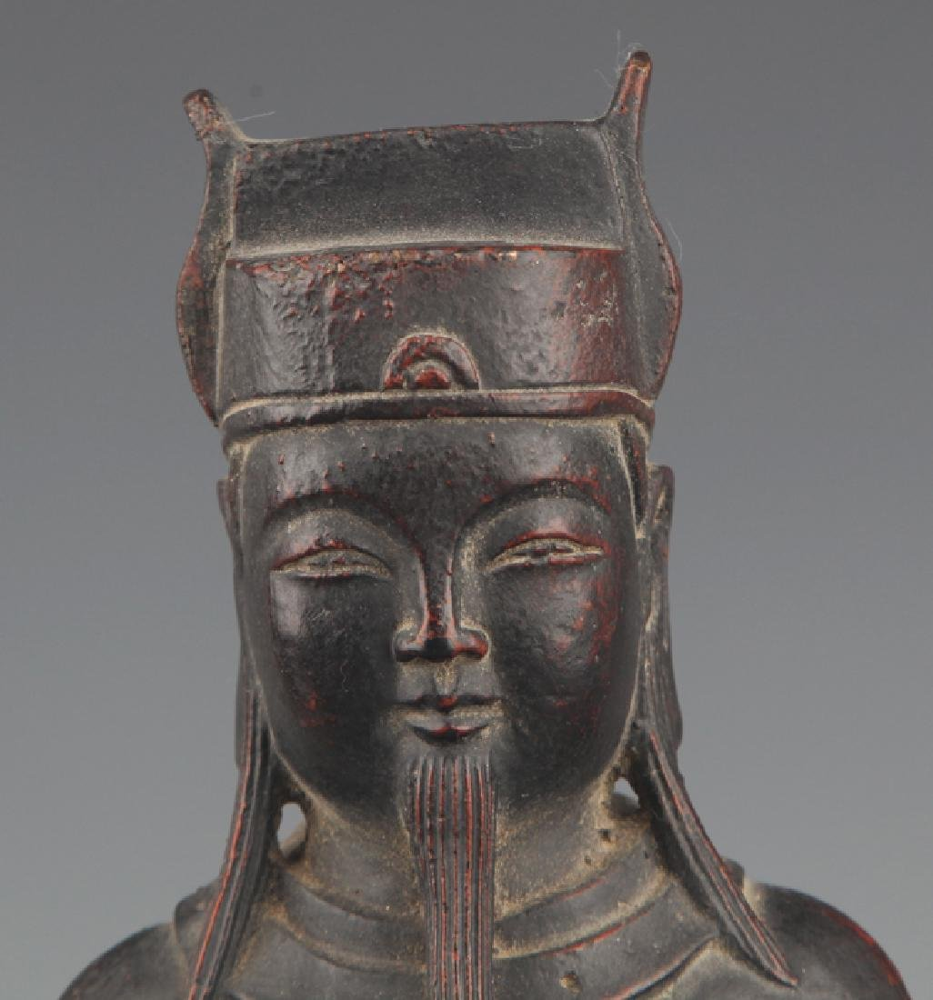 A FINELY CARVED GOD OF WEALTH BRONZE FIGURE - 2