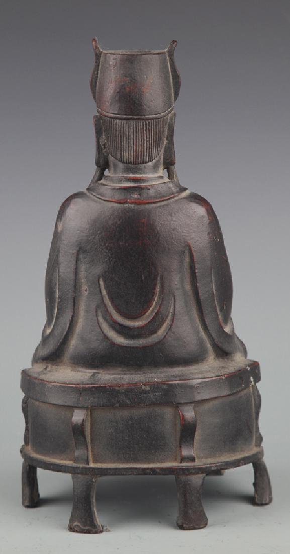A FINELY CARVED GOD OF WEALTH BRONZE FIGURE - 3