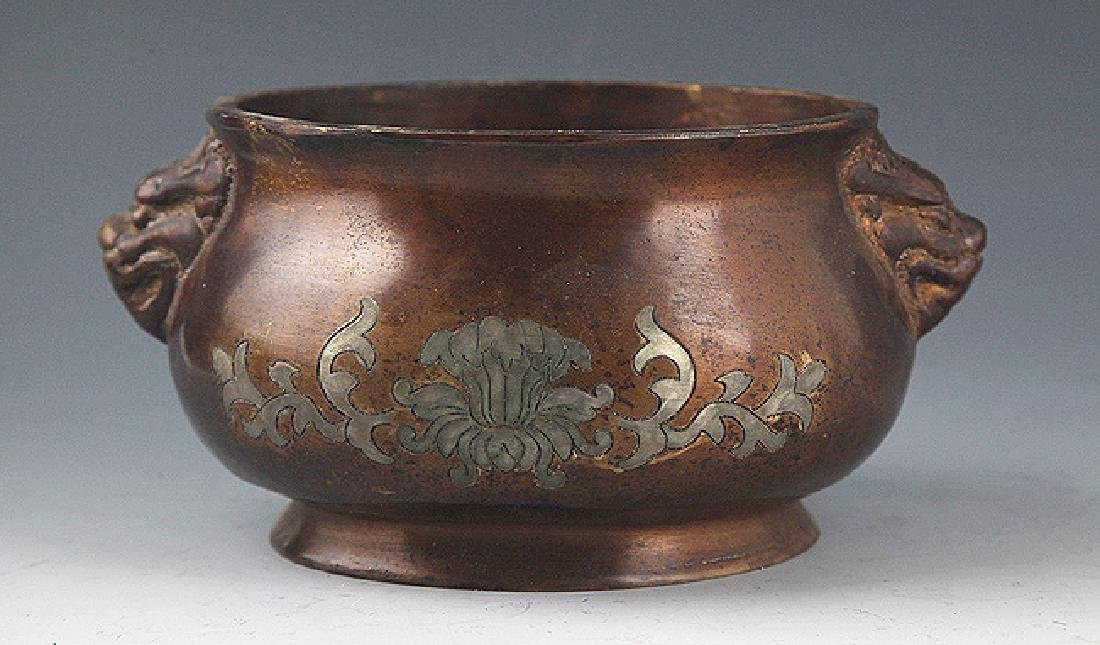 A FINELY CARVED ROUND BRONZE CENSER