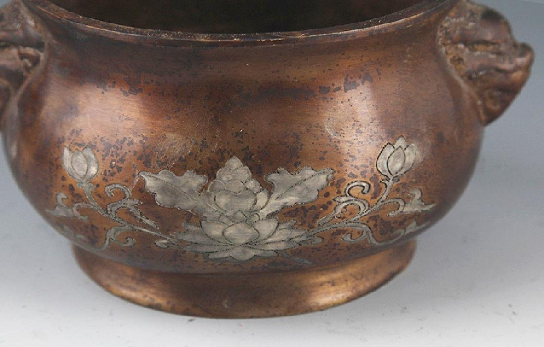 A FINELY CARVED ROUND BRONZE CENSER - 3