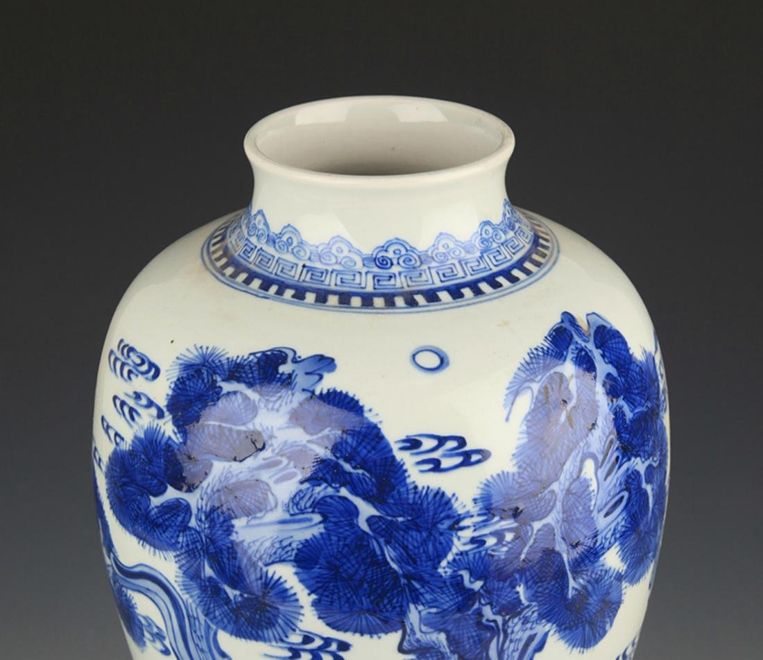 BLUE AND WHITE PINE TREE PAINTING PORCELAIN VASE - 2