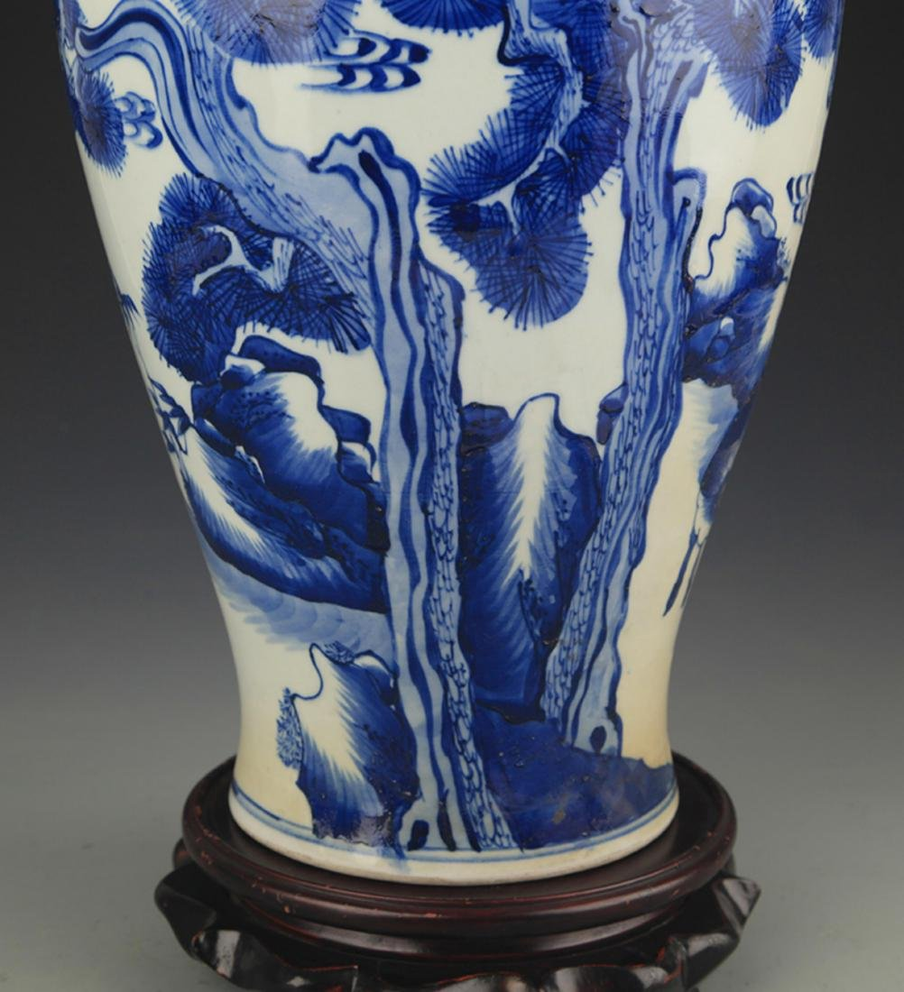 BLUE AND WHITE PINE TREE PAINTING PORCELAIN VASE - 4