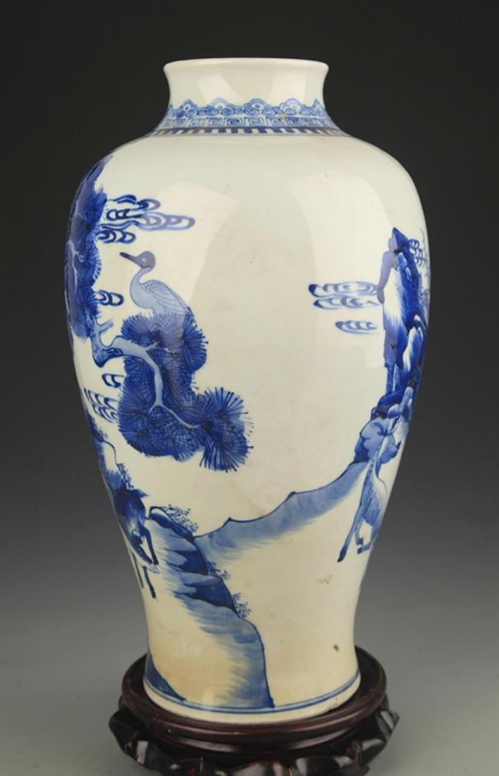 BLUE AND WHITE PINE TREE PAINTING PORCELAIN VASE - 5
