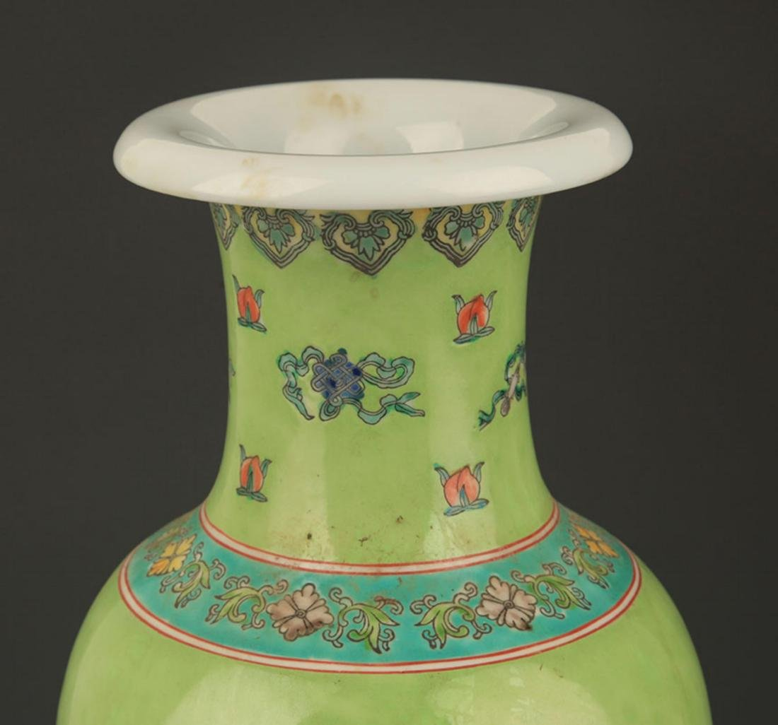 GREEN GROUND FAMILLE ROSE STORY PAINTED PORCELAIN VASE - 2
