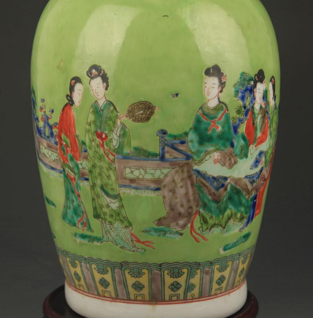 GREEN GROUND FAMILLE ROSE STORY PAINTED PORCELAIN VASE - 3