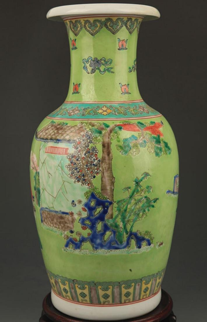 GREEN GROUND FAMILLE ROSE STORY PAINTED PORCELAIN VASE - 4