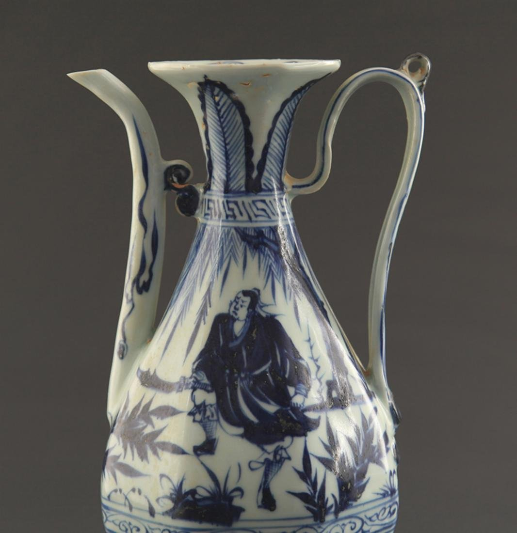 A BLUE AND WHITE FINELY PAINTED WATER JAR - 2