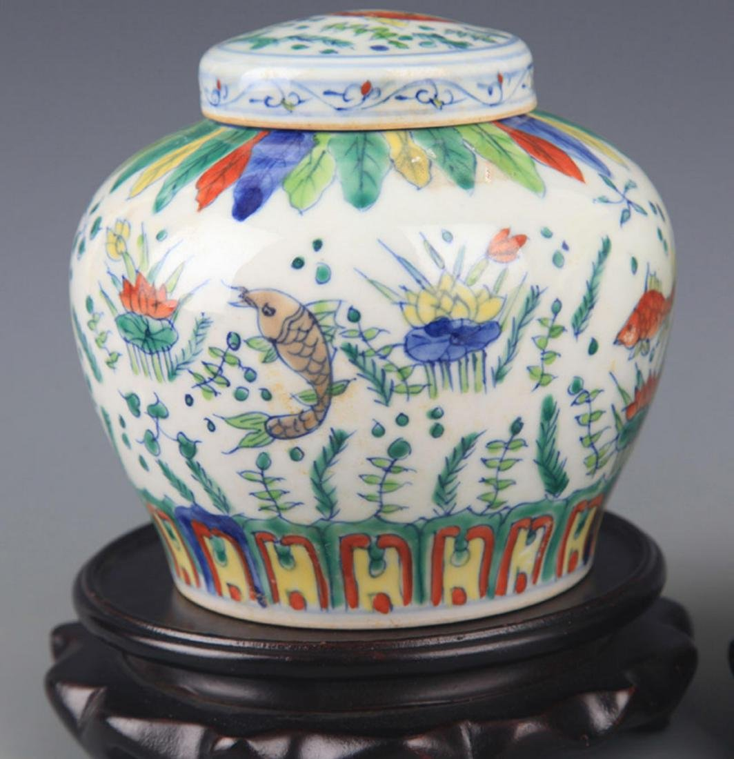 A DOUCAI COLOR PORCELAIN VASE WITH COVER - 3