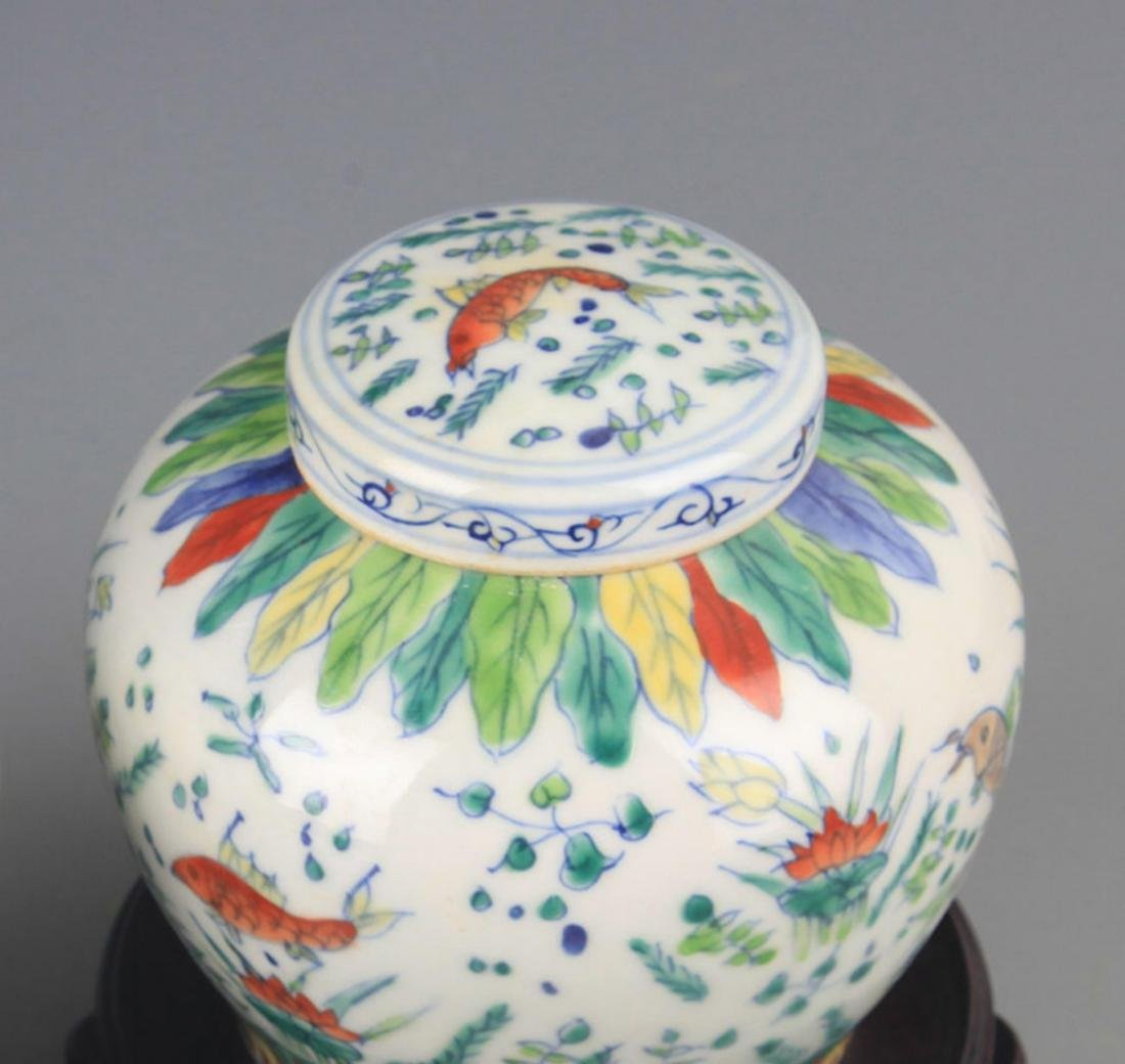 A DOUCAI COLOR PORCELAIN VASE WITH COVER - 4