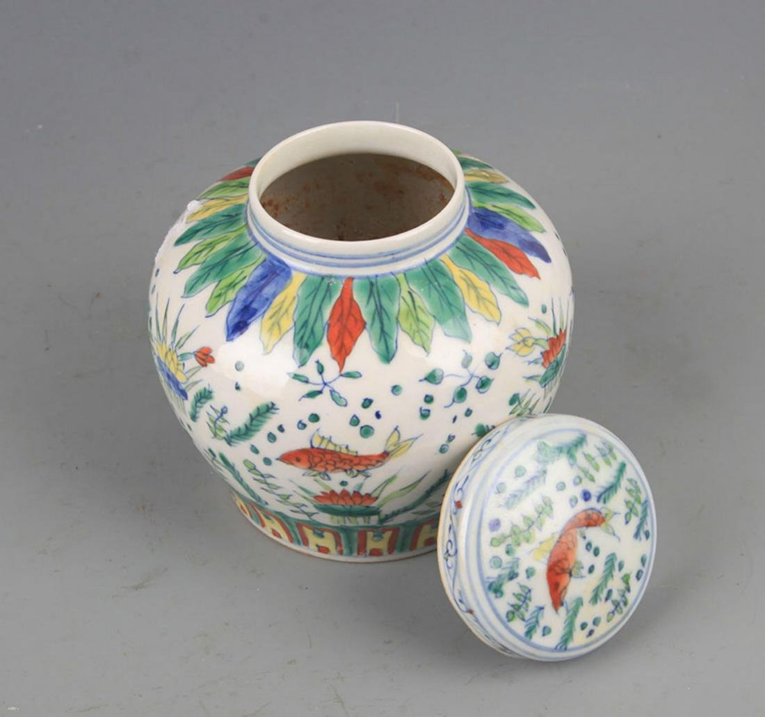 A DOUCAI COLOR PORCELAIN VASE WITH COVER - 5