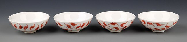 A GROUP OF RED COLOR BAT PAINTING PORCELAIN BOWL