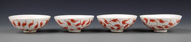 A GROUP OF RED COLOR BAT PAINTING PORCELAIN BOWL - 2