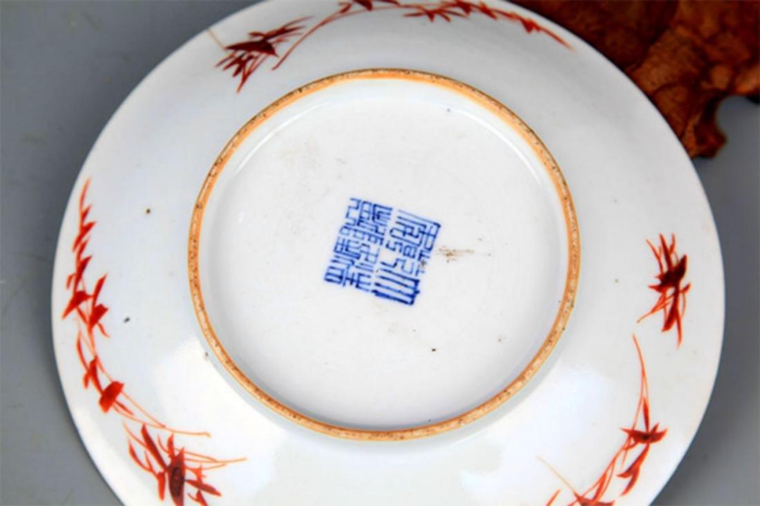 A FINE BLUE GLAZED FAMILLE-ROSE PORCELAIN PLATE - 4
