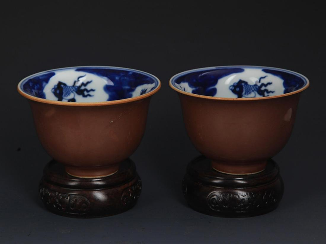 PAIR OF SAUCE COLOR GLAZED PORCELAIN CUP