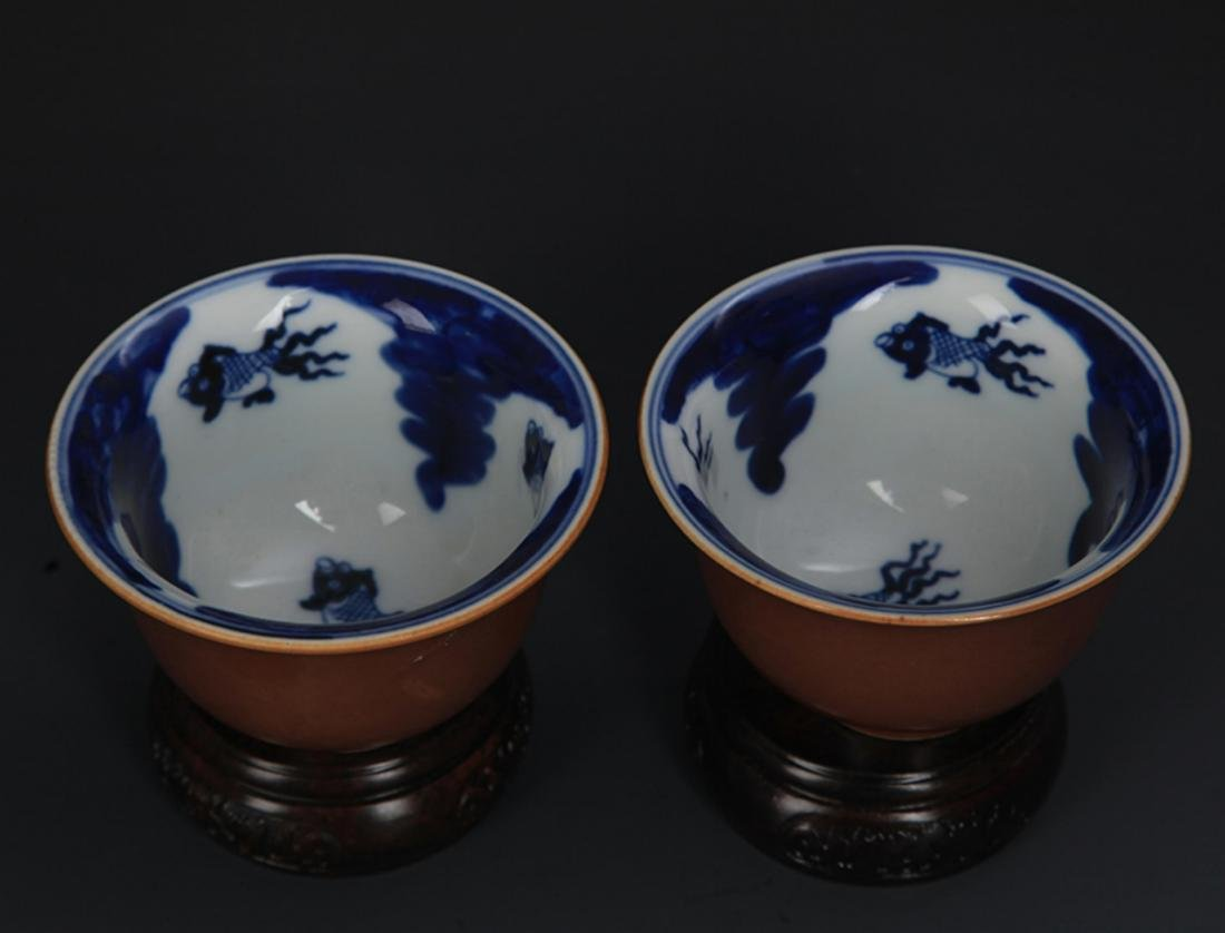 PAIR OF SAUCE COLOR GLAZED PORCELAIN CUP - 2
