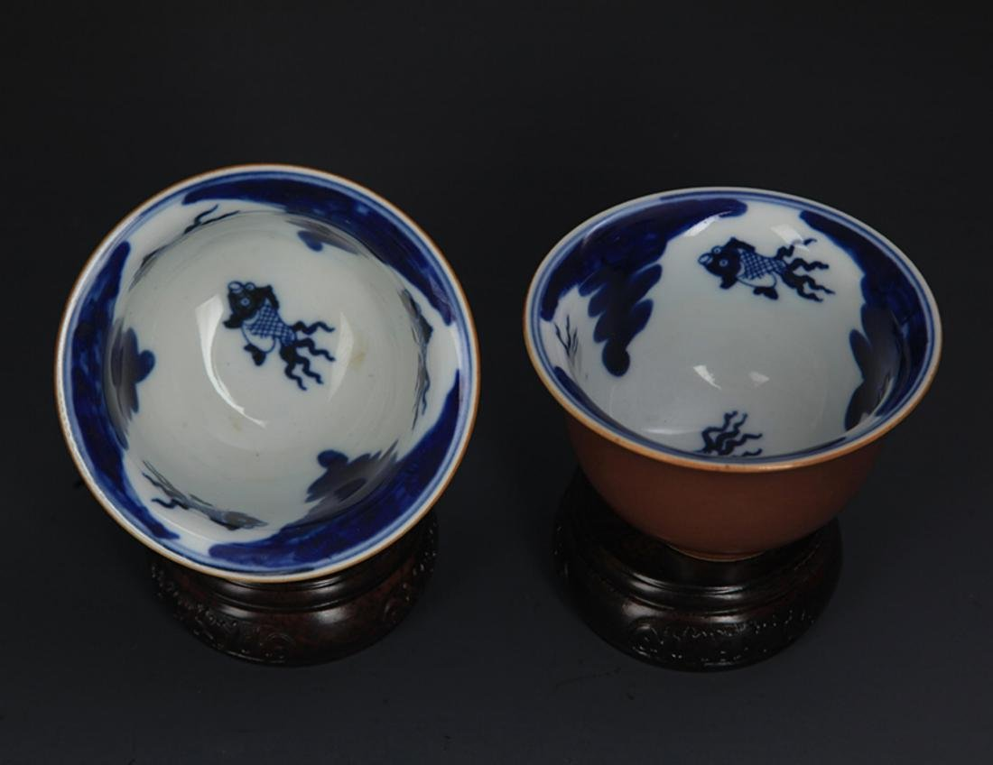 PAIR OF SAUCE COLOR GLAZED PORCELAIN CUP - 3