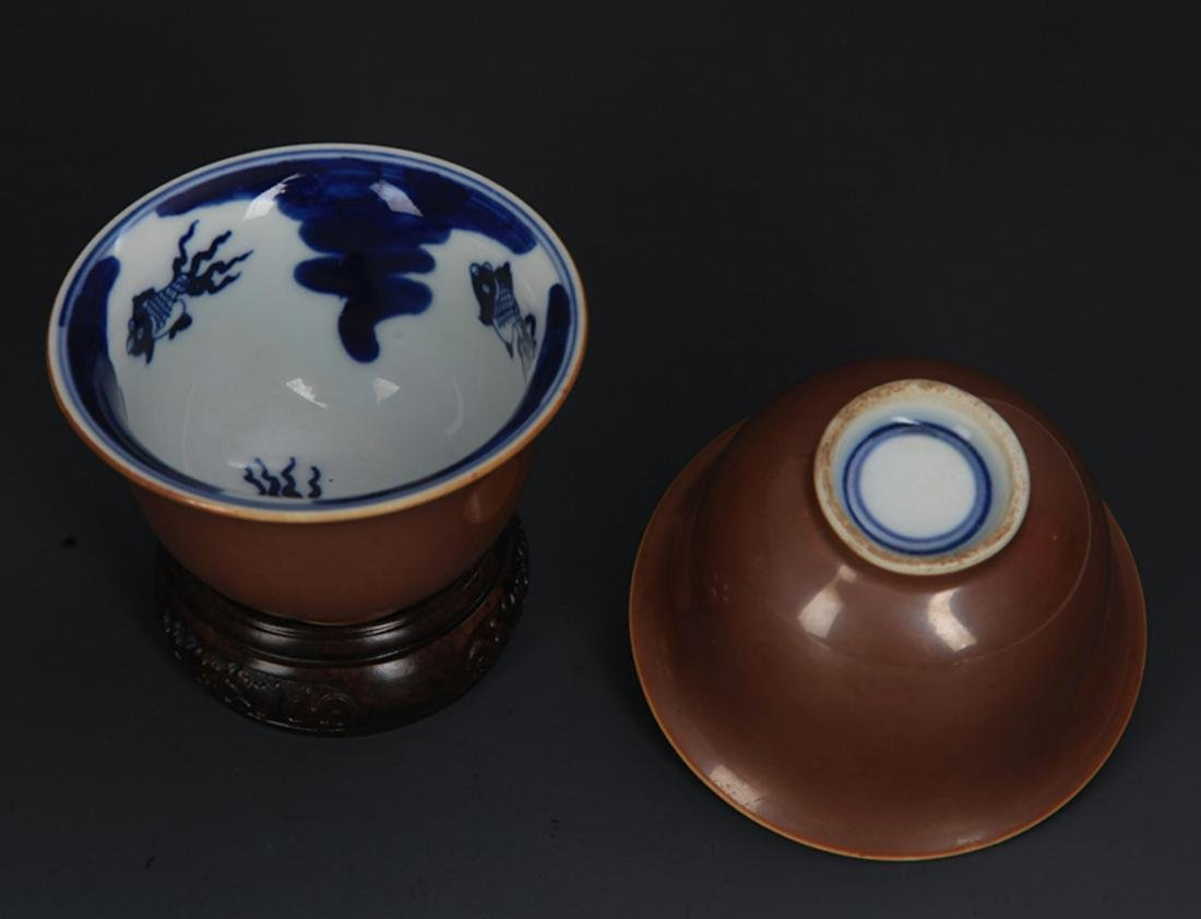 PAIR OF SAUCE COLOR GLAZED PORCELAIN CUP - 4