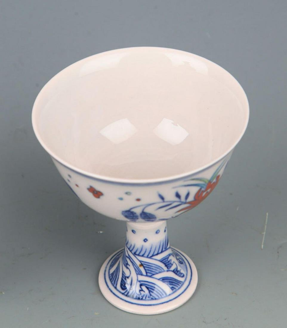 A HIGH FOOT DOUCAI COLOR CHICKEN CUP - 2