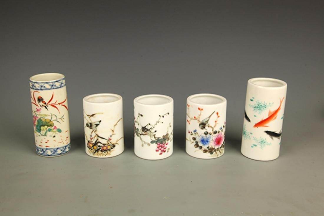 GROUP OF FAMILLE-ROSE PORCELAIN BRUSH HOLDER