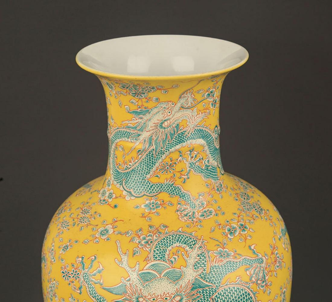 YELLOW GROUND FAMILLE ROSE DRAGON PAINTED VASE - 2
